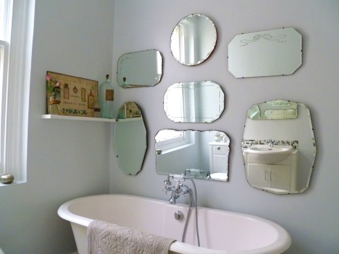 How to hang a display of frameless vintage mirrors