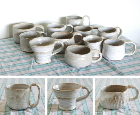 homemade pottery mugs Toot as in Foot