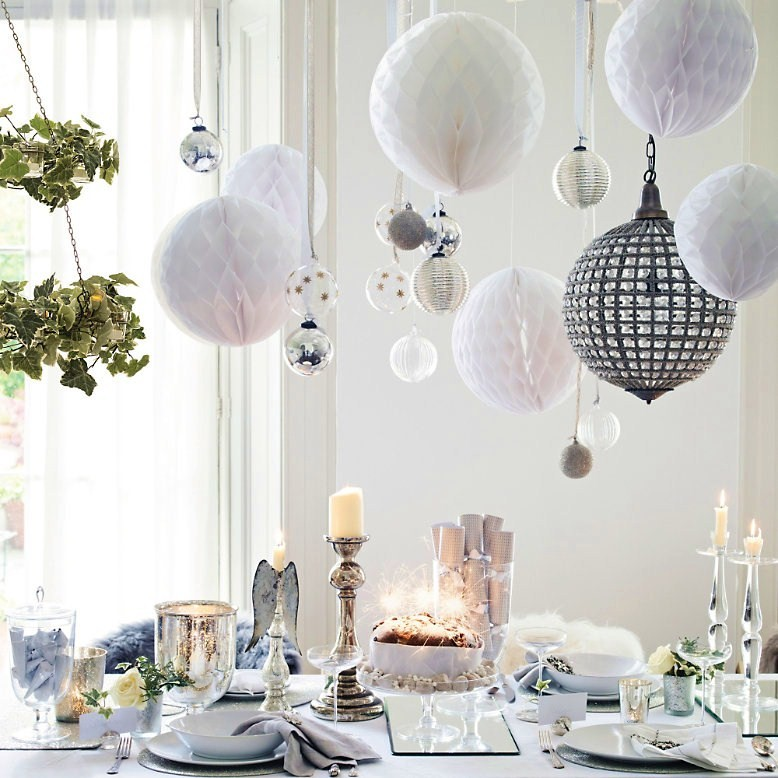Paper balls over Christmas table