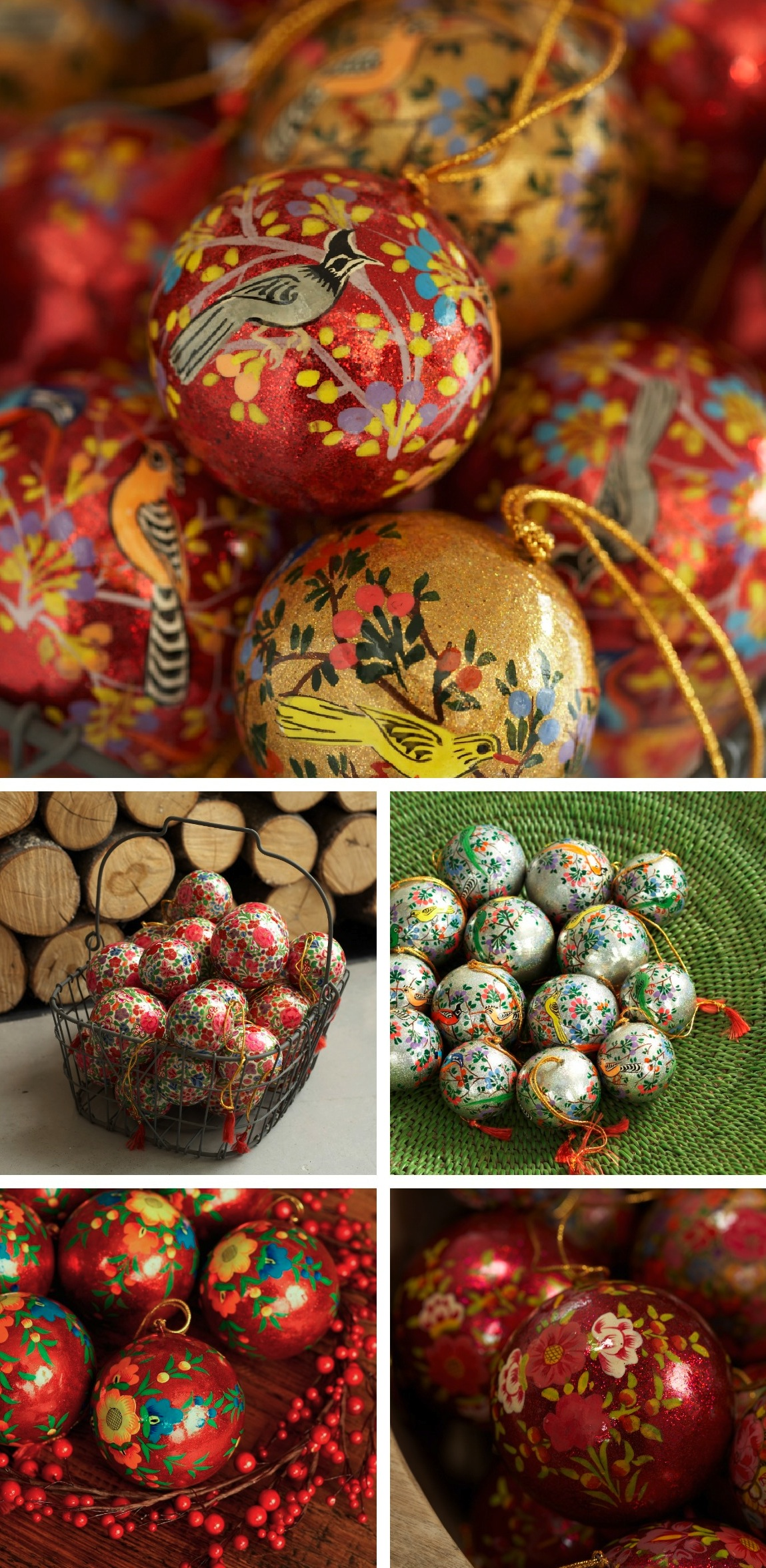 Indian papier mache baubles