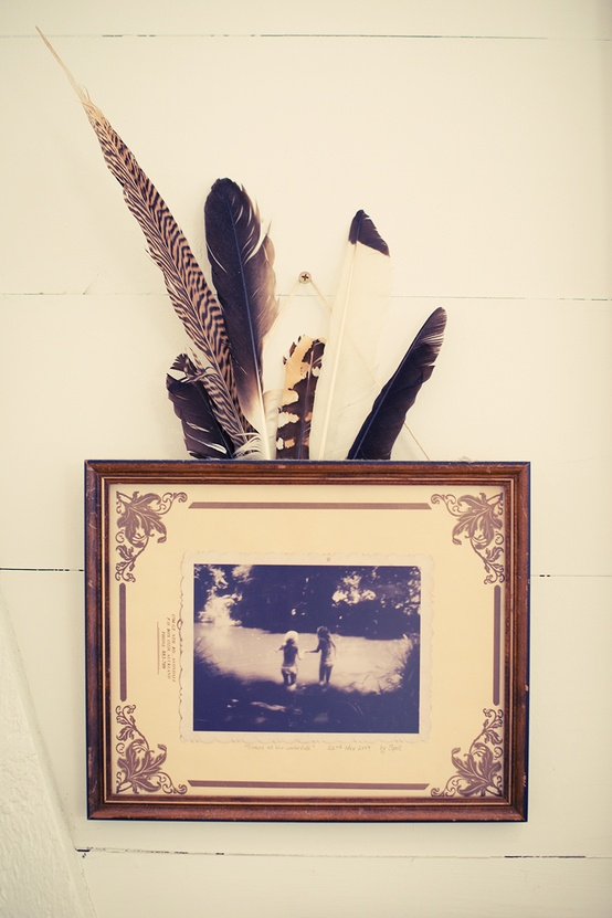 feathers tucked into picture frame