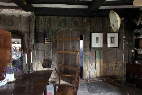 old antique wood panelled room