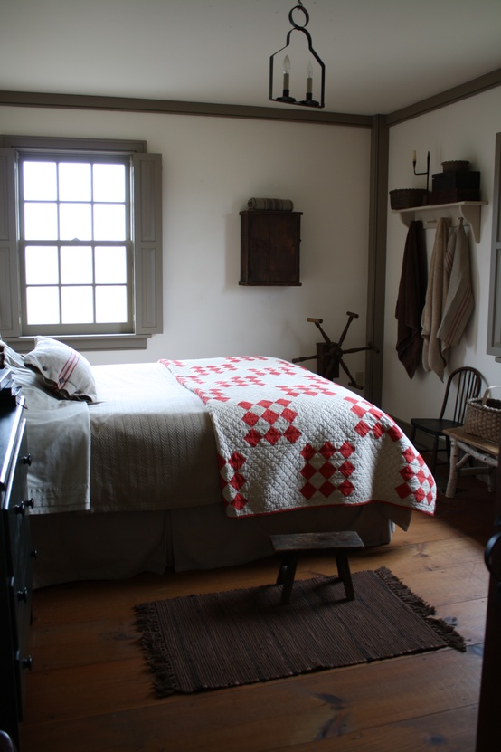 House tour amazingly austere american farmhouse for Farmhouse guest bedroom