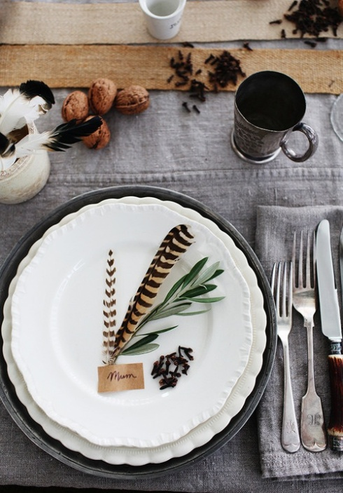autumn place setting with feathers fall