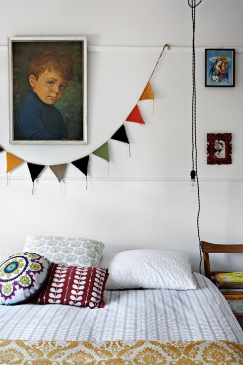 white bedroom with bunting
