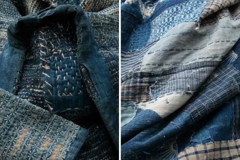 indigo Japanese boro textile fabric