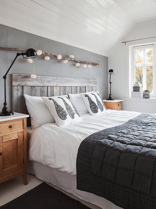 grey and white bedroom with natural details - White Grey Bedroom