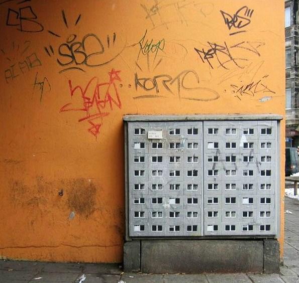 Berlin buildings by street artist Evol
