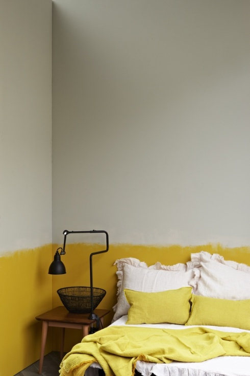 yellow and grey painted walls in bedroom
