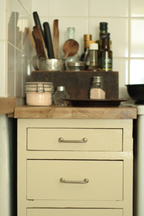 cream painted vintage kitchen unit