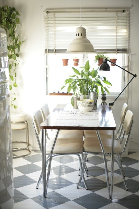vintage dining area with painted floor