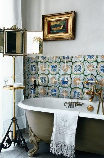 bathroom with patterned moroccan tiles