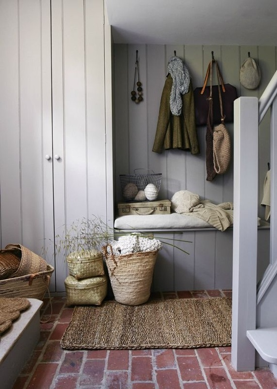 country style hallway with tongue and groove