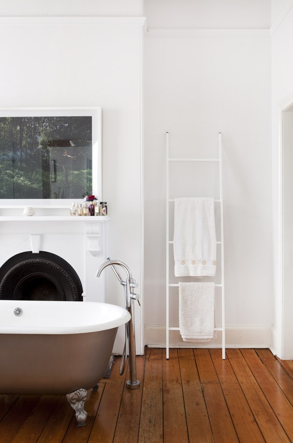 white vintage bathroom with freestanding bathtub
