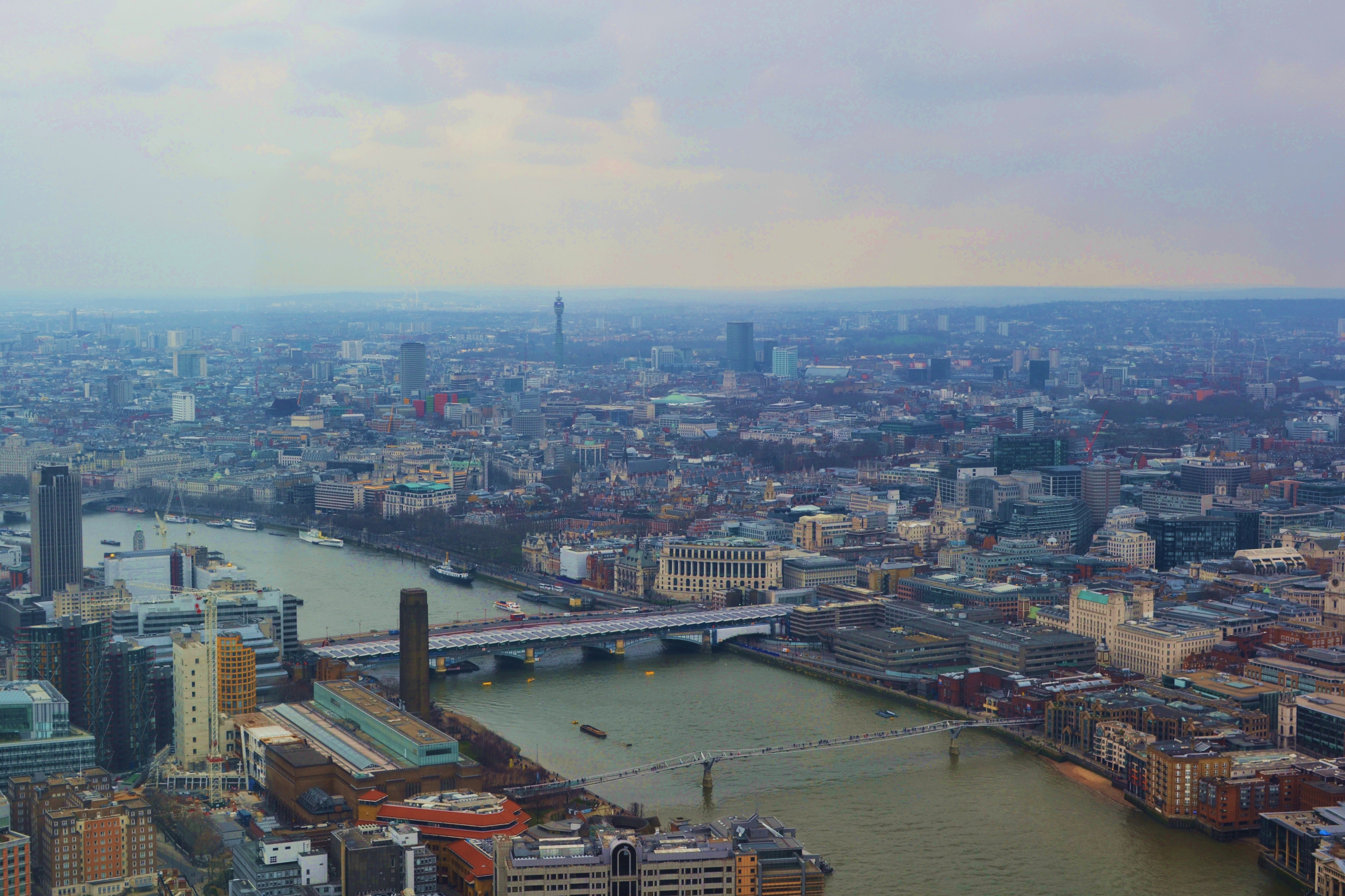 millenium bridge from The Shard