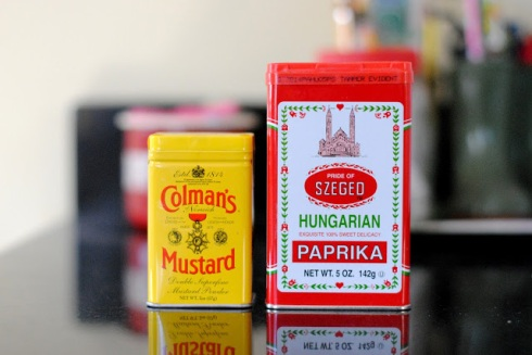 paprika and mustard tins