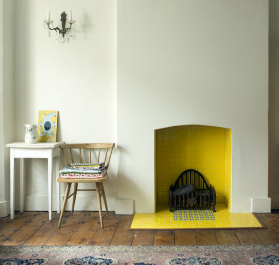 yellow fireplace tiles