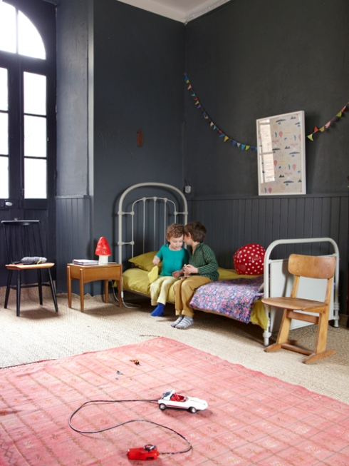 dark grey kids bedroom