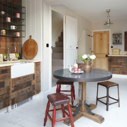 rustic kitchen with reclaimed wood cupboards House to Home