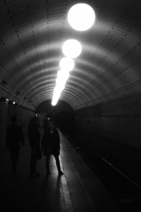 Moscow metro black and white