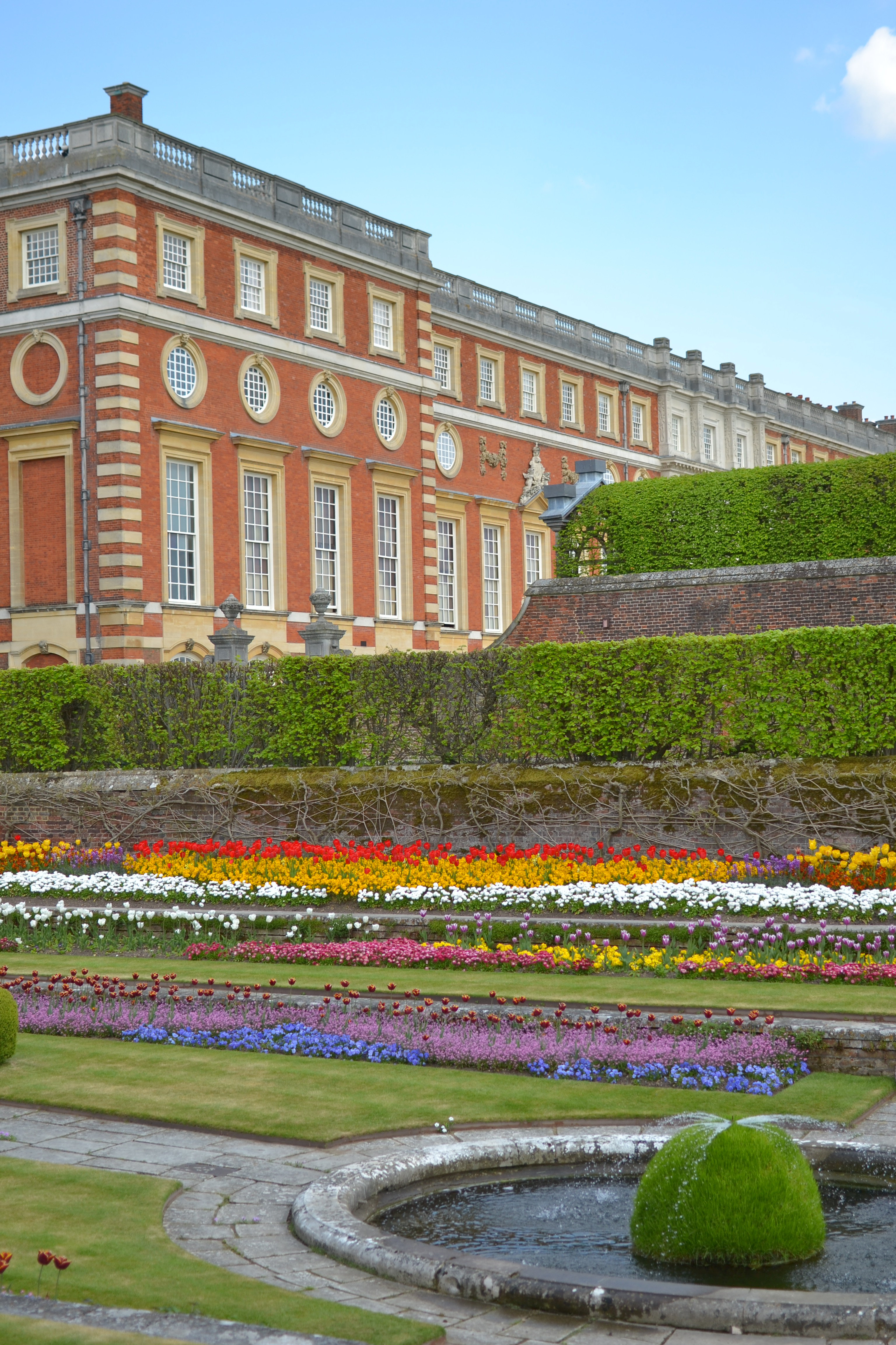 Hampton Court Palace and garden in spring