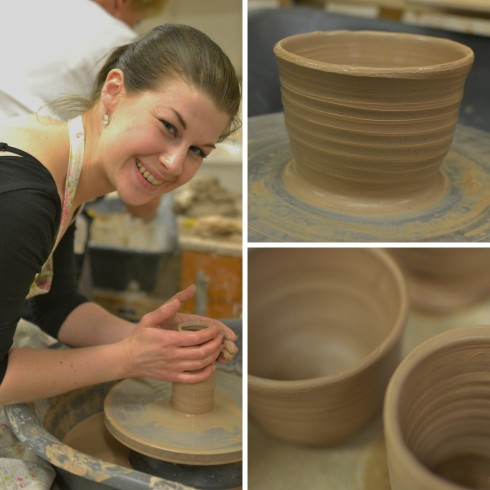 learning to throw pots on a potters wheel