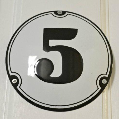 Enamel house number 5
