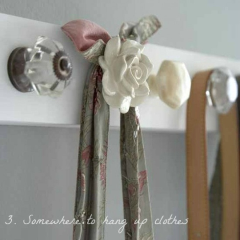 hooks on back of door made from pretty drawer handles