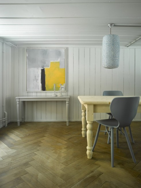 grey and yellow dining room