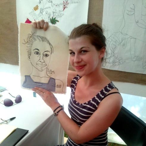 portrait sewn by harriett riddell