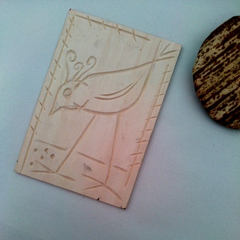 woodcut printing block bird