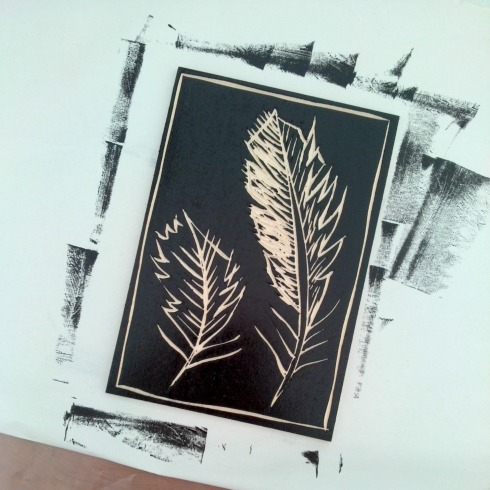 woodcut printing block feathers