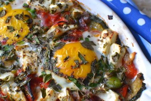 baked eggs recipe close up