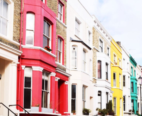 brightly painted houses in notting hill gary pepper girl