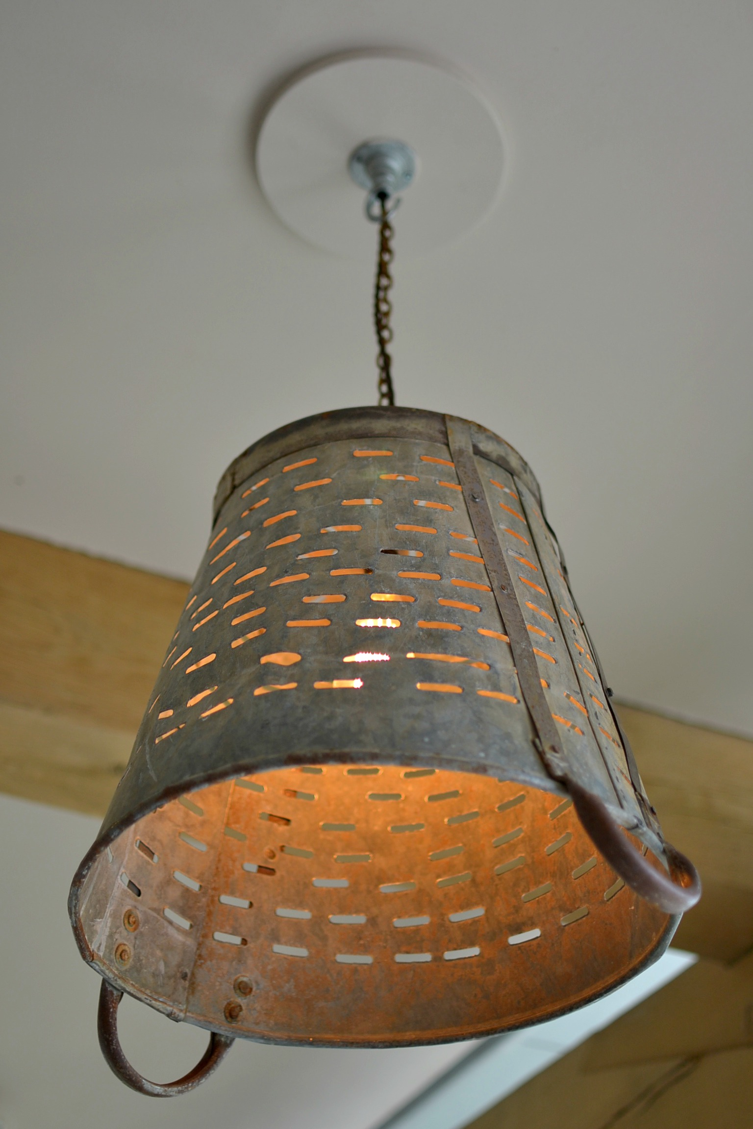 upcycled metal bucket ceiling light