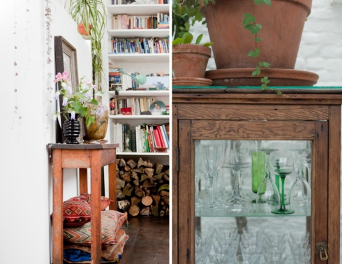 vintage glasses and white bookshelves