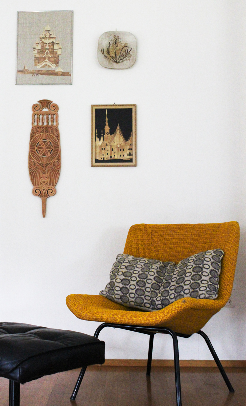 vintage retro armchair and wall art ada and ina