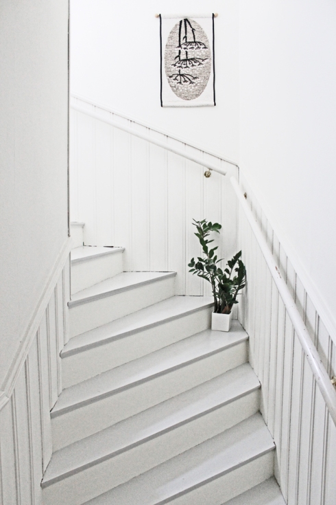 wooden stairs painted white and grey ada and ina
