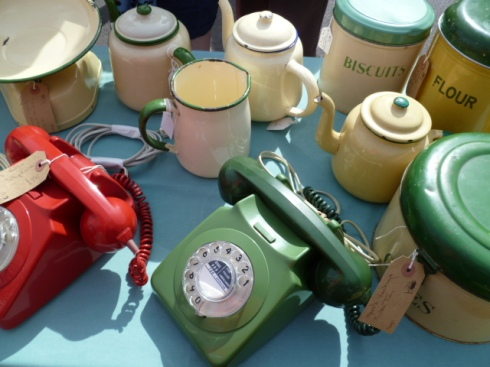 vintage telephone and kitchen storage jars Frome Flea