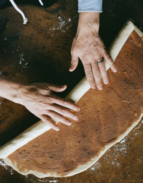 rolling dough for Finnish Pulla bread Kinfolk