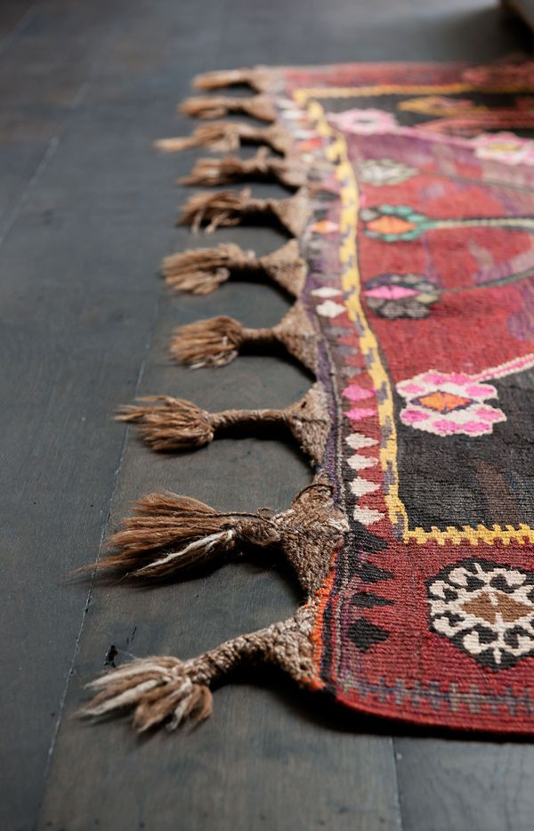 close up of woven rug