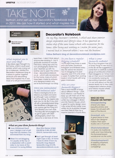 Decorator's Notebook in Good Homes Dec 2013 issue