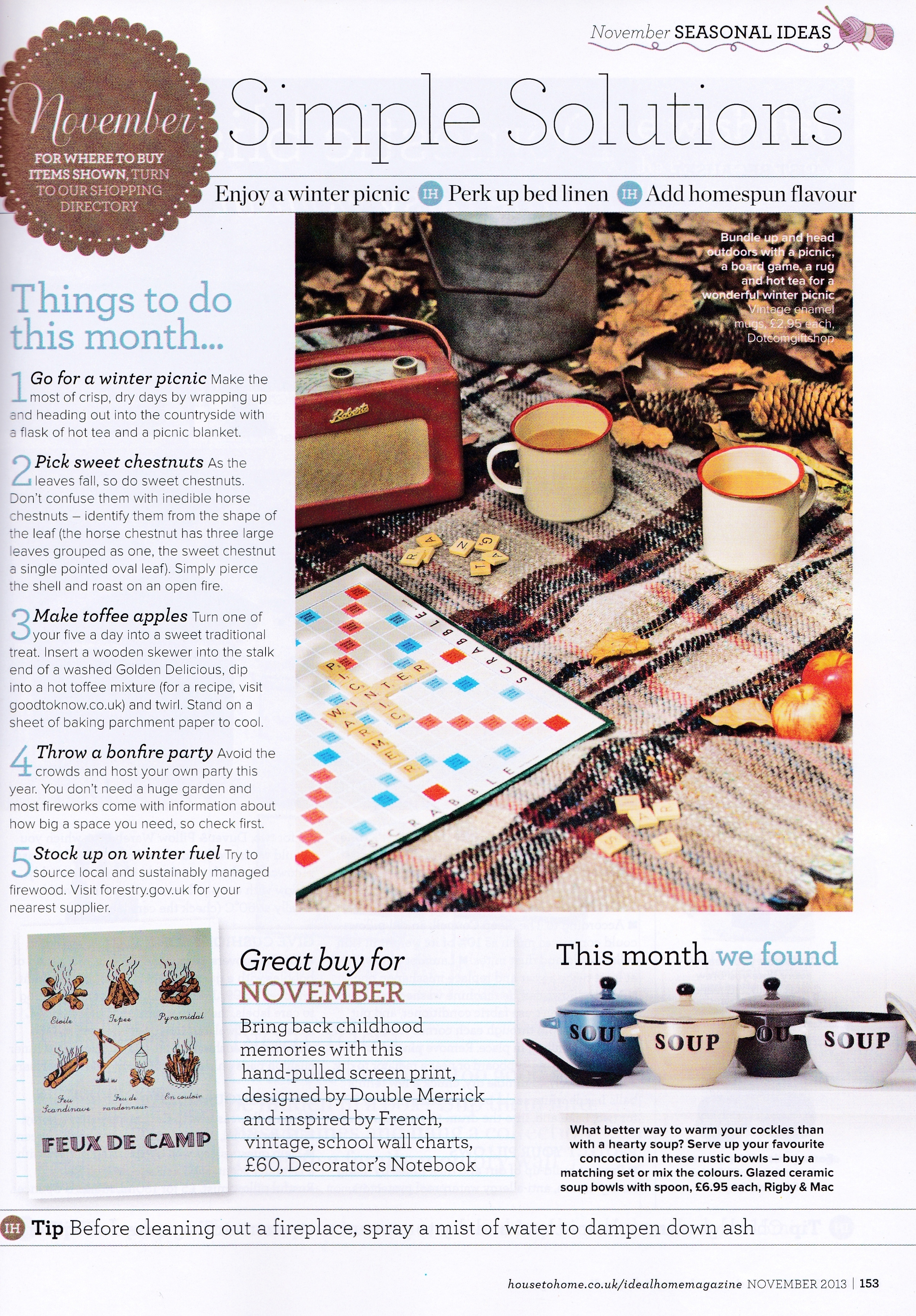 Decorator's Notebook in Ideal Home Nov 2013 issue