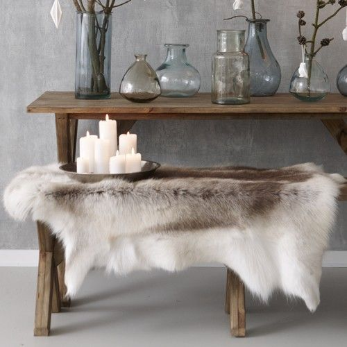 reindeer skin throw on bench