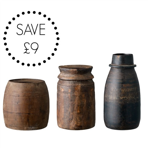 Vintage Himalayan wooden vase £60 each Decorator's Notebook £
