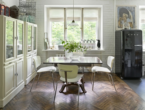 white vintage kitchen with reclaimed cupboards