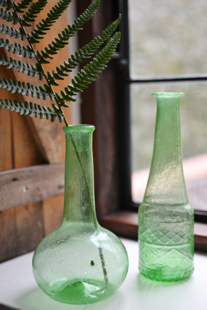Green Glass Bottle Vases from Decorator's Notebook