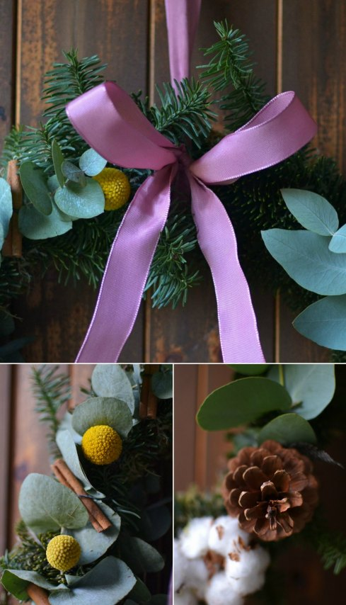 Homemade Christmas door wreath contemporary foliage
