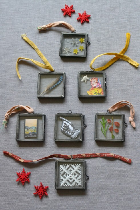 Tiny hanging picture frames from Decorator's Notebook