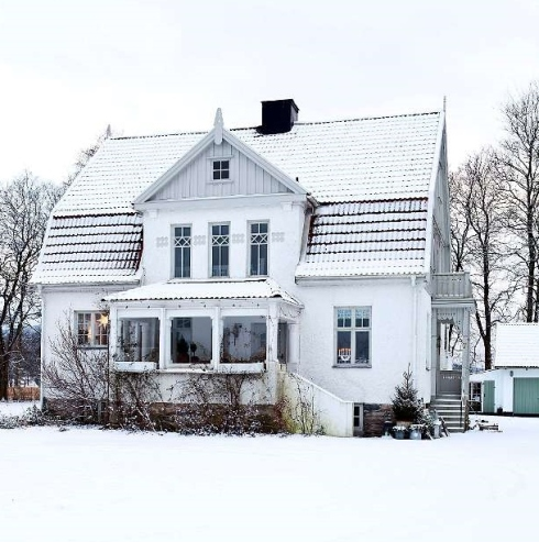 scandinavian house in snow